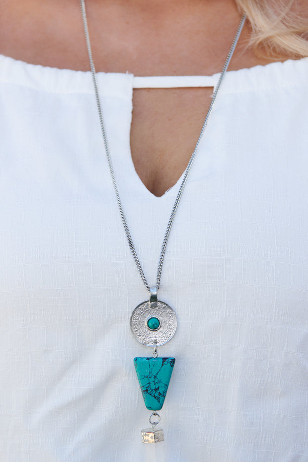 Electric Mood Statement Necklace (Turquoise)