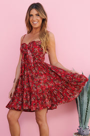Lost At Night Floral Dress (Red)