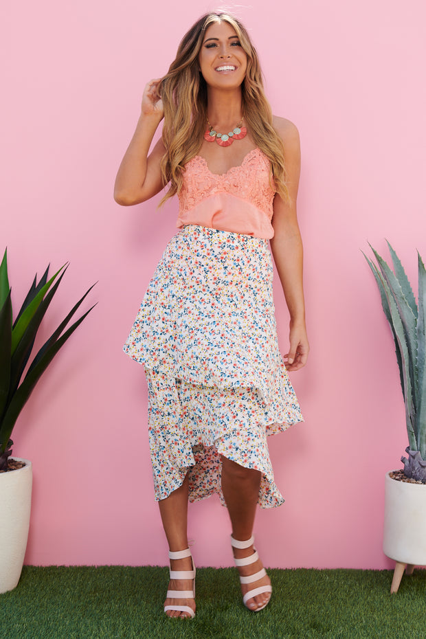 The Highs And The Lows High-Low Skirt (White Multi)