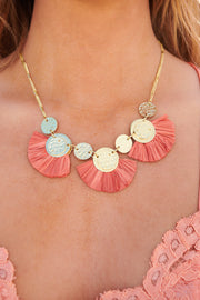 Secret Story Statement Necklace (Coral)