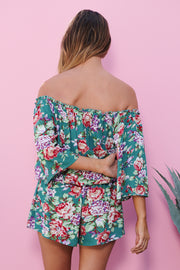 Pretty Petals Romper (Teal)
