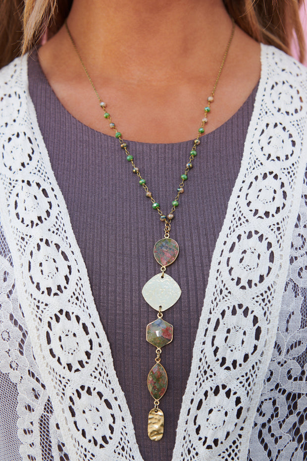 Beaded Delight Statement Necklace (Green)