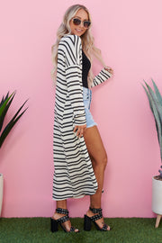 Blurred Lines Striped Cardigan (Ivory/Black)