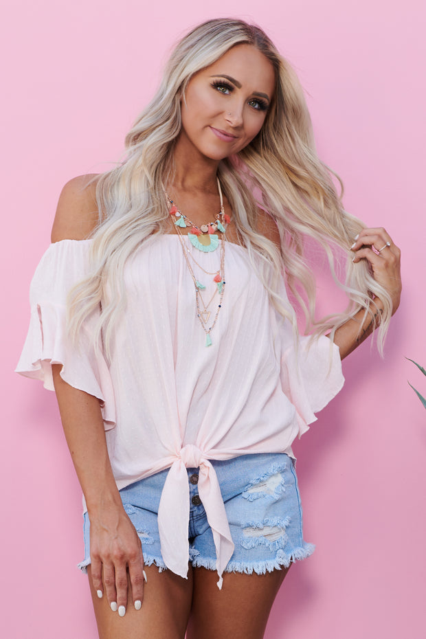 Young Tonight Off The Shoulder Top (Pink)