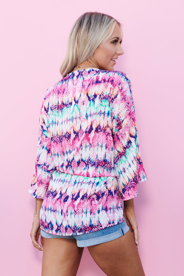 Everlasting Color Kimono (Fuchsia/Purple Multi)