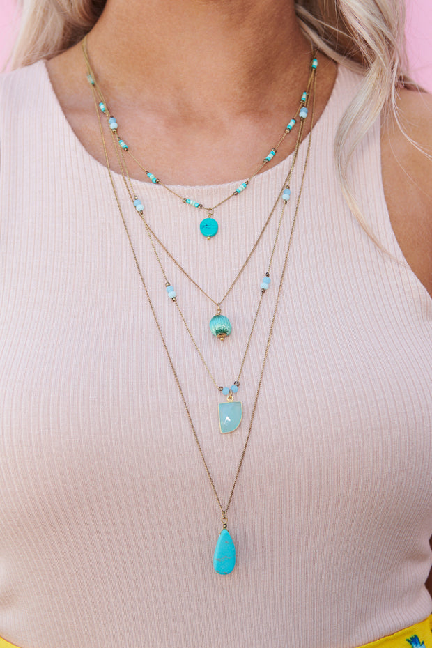 Take Notes Layered Necklace (Turquoise)