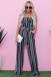 Hide And Sleek Strapless Jumpsuit (Black/White) - NanaMacs