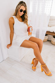 """Comfort Is Key"" Knit Romper (White) - NanaMacs"