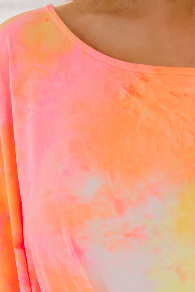 Hang Together Gathered Knot Tie Dye Top (Orange) - NanaMacs