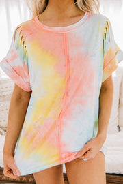 Pretty And Reckless Distressed Tie Dye Top (Coral) - NanaMacs