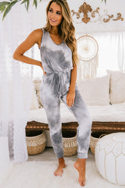 PREORDER Get Close To Me Knit Tie Dye Jumpsuit (Grey) - NanaMacs