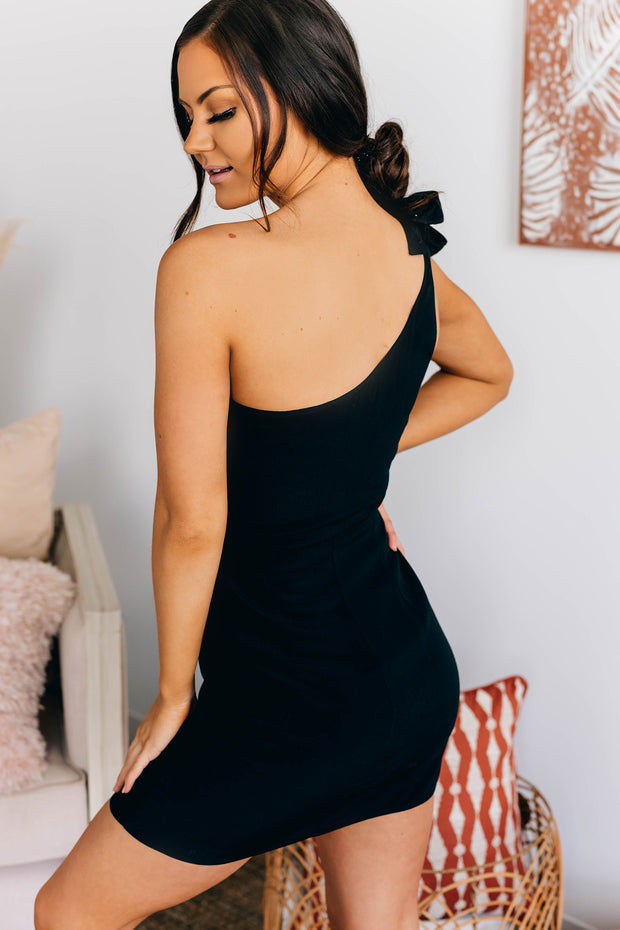 Bring On The Party One Shoulder Dress (Black) - NanaMacs