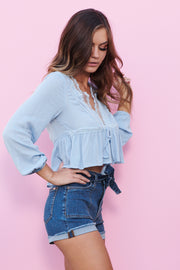Annabelle Natural Top (Powder Blue) - NanaMacs