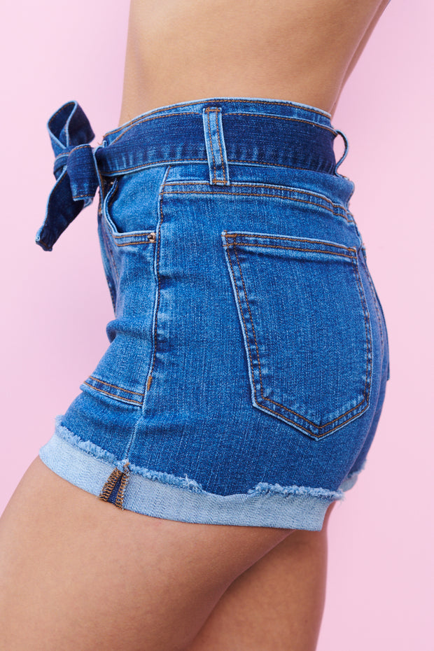 Denim On Denim Shorts (Medium Wash)