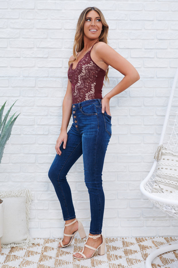 Shoreline High Waisted Jeans (Medium Dark Wash) - NanaMacs