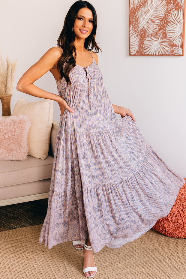No Worries Tiered Maxi Dress (Peach/Blue) - NanaMacs