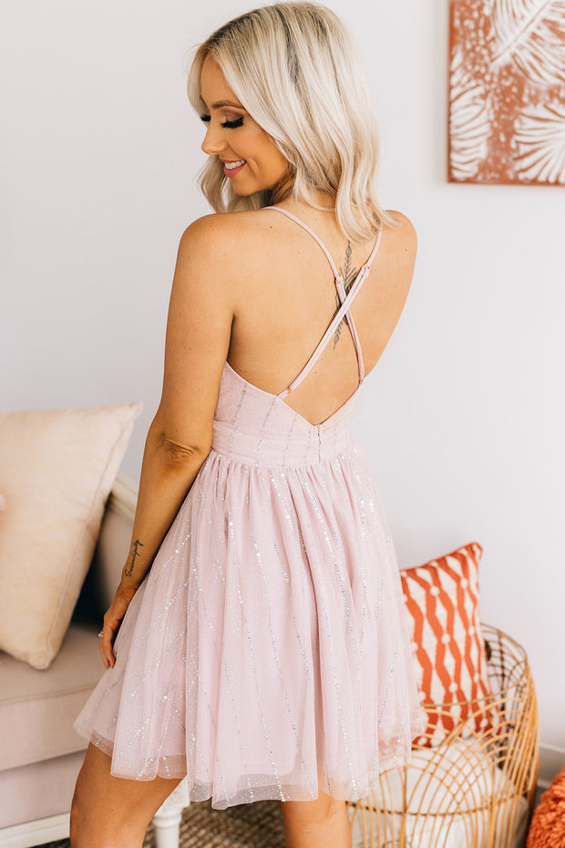 Born To Shine Tulle Mini Dress (Vintage Blush) - NanaMacs
