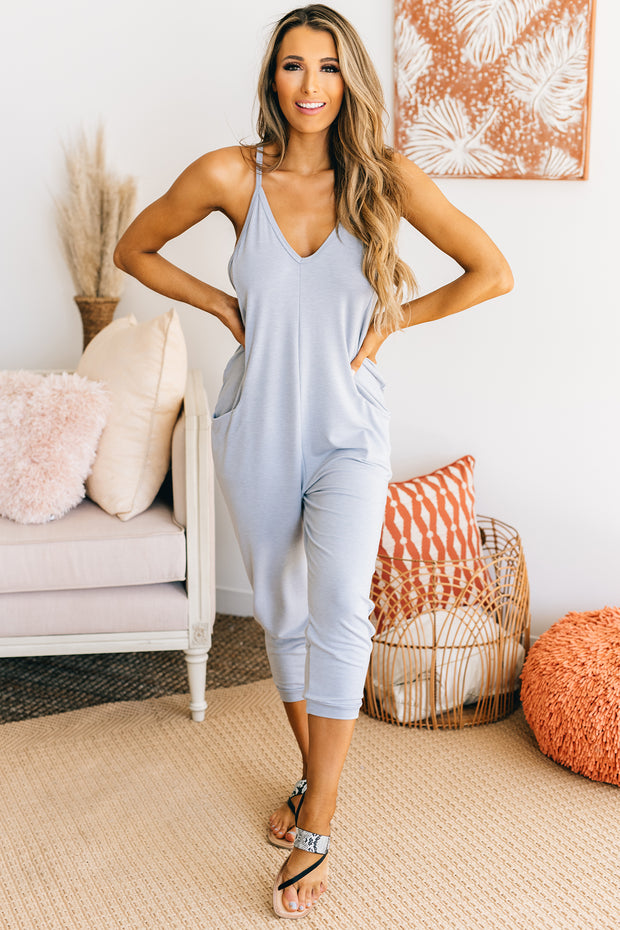 Better Than Your Birthday Suit Jumpsuit (Two Tone Blue) - NanaMacs