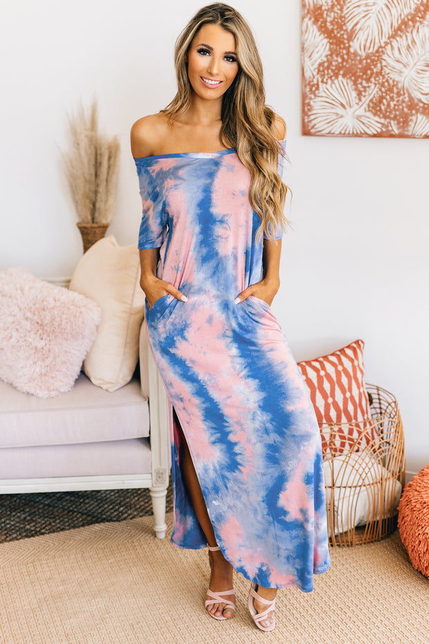 Good Feelings Tie Dye Maxi Dress (Blue Mix) - NanaMacs