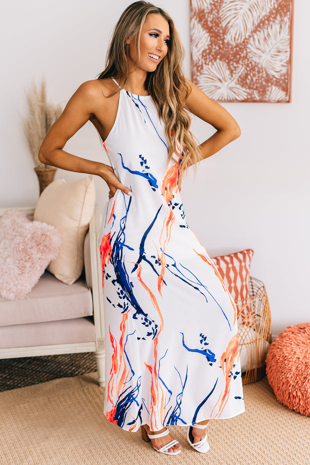 Work Of Art Maxi Dress (White/Navy/Coral) - NanaMacs