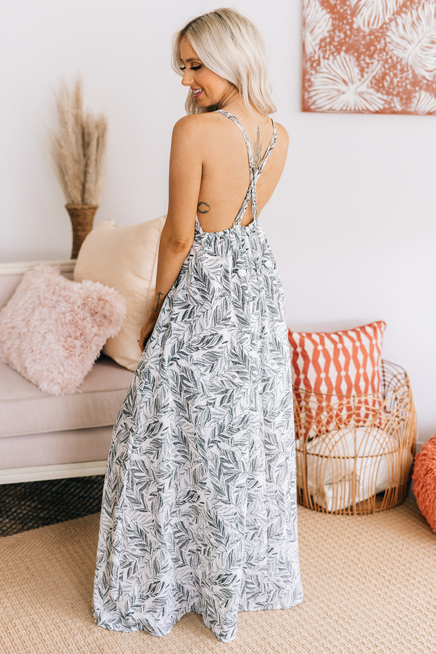"""Keep Palm"" Palm Printed Maxi Dress (Off White/Light Grey) - NanaMacs"