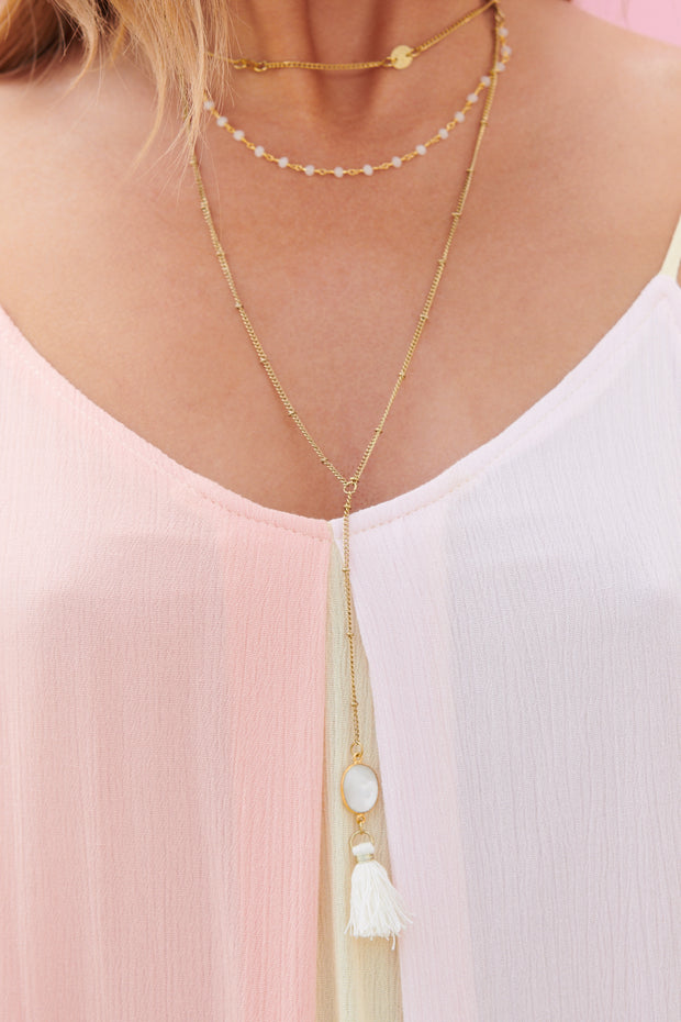Little White Lie Layered Necklace (White)