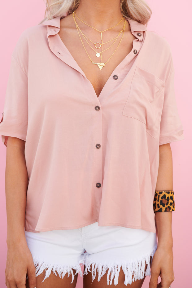 Everlee Button Up Top (French Mauve)