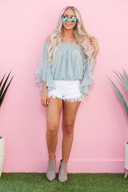 Wish You Were Sheer Top (Grey Mint)