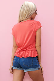 Classic Button Top (Coral)