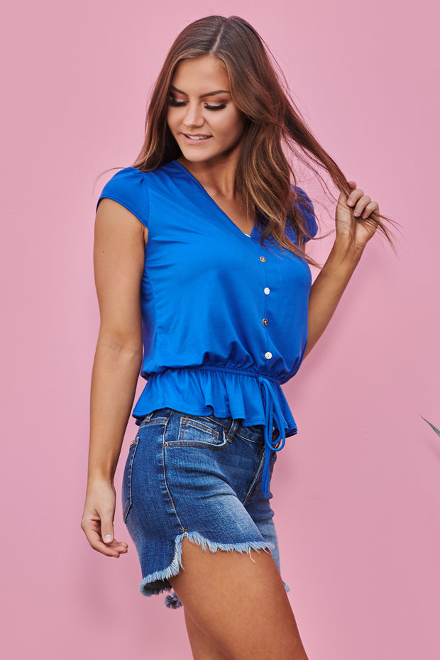 Classic Button Top (Royal Blue)