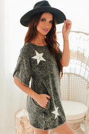 New Girl In Town Acid Wash T-Shirt Dress (Charcoal) - NanaMacs