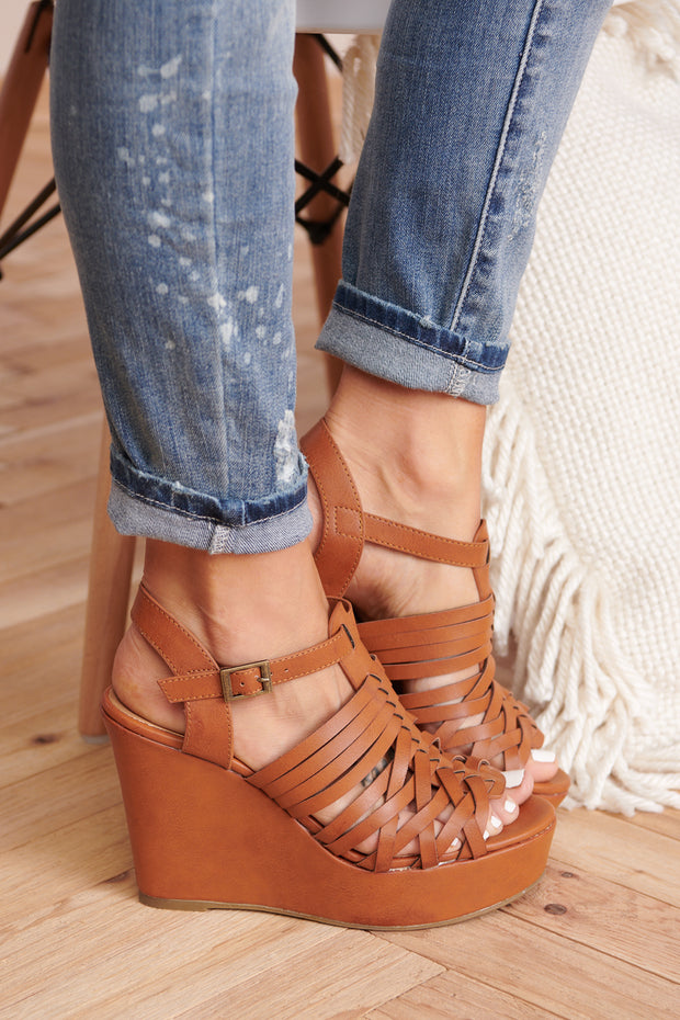Picnic Date Sandal Wedges (Tan)