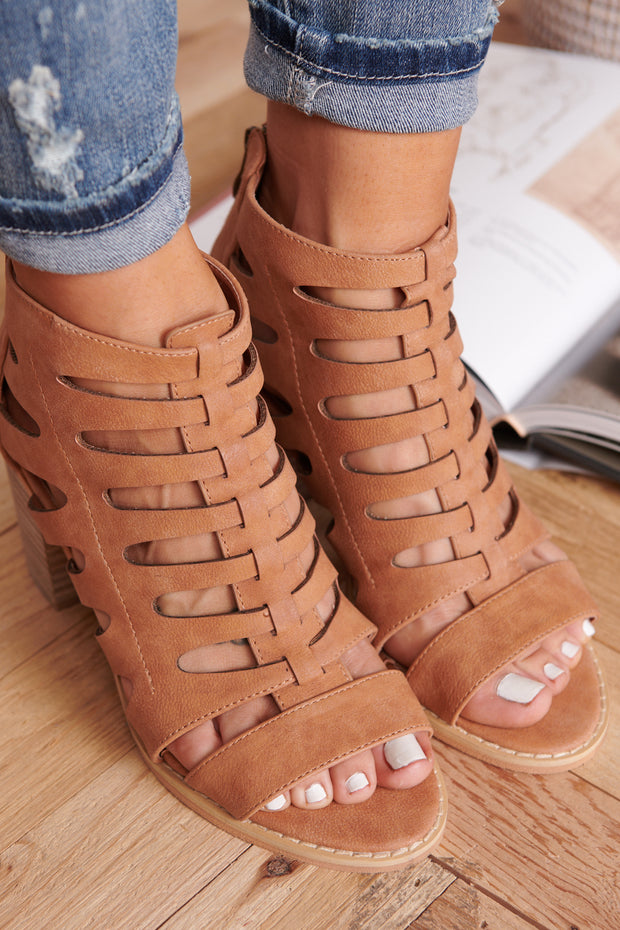 Beach Day Sandal Booties (Whiskey)
