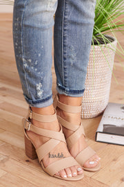 Crossing Over Strappy Heels (Natural)
