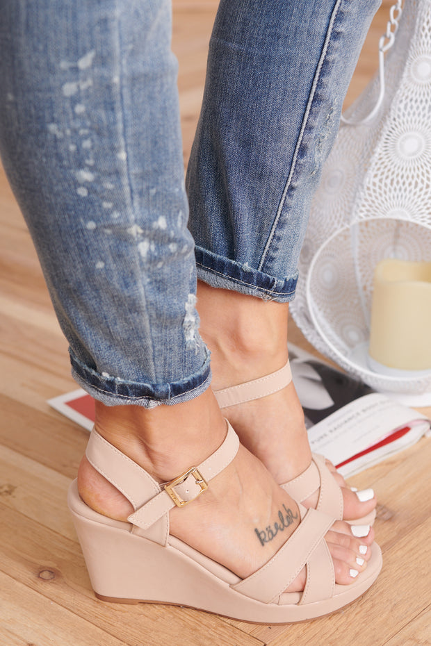 Reality Check Sandal Wedges (Nude)