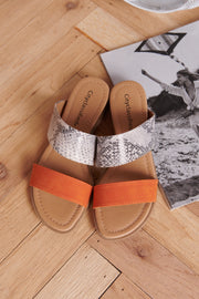 Never Go Wrong Slip On Sandals (Beige/Python/Orange)