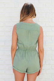 Long Beach Romper (Moss)