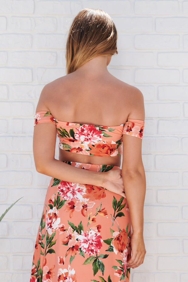 Floral Paradise Off The Shoulder Crop Top (Coral)