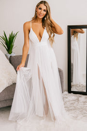 The Big Day Tulle Maxi Dress (Off White) - NanaMacs