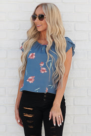 Bed Of Roses Top (Blue)