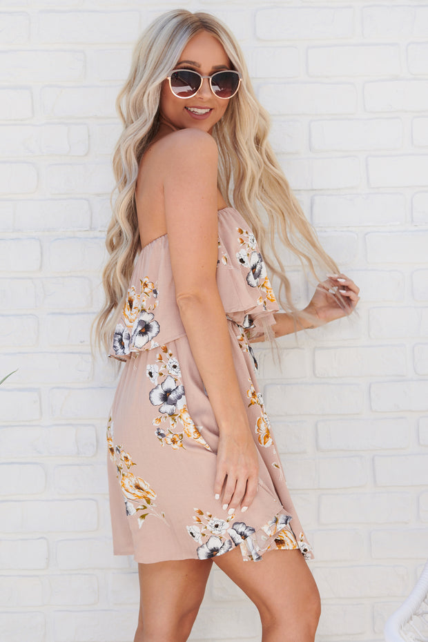 Field Day Strapless Dress (Nude Blush/Multi)