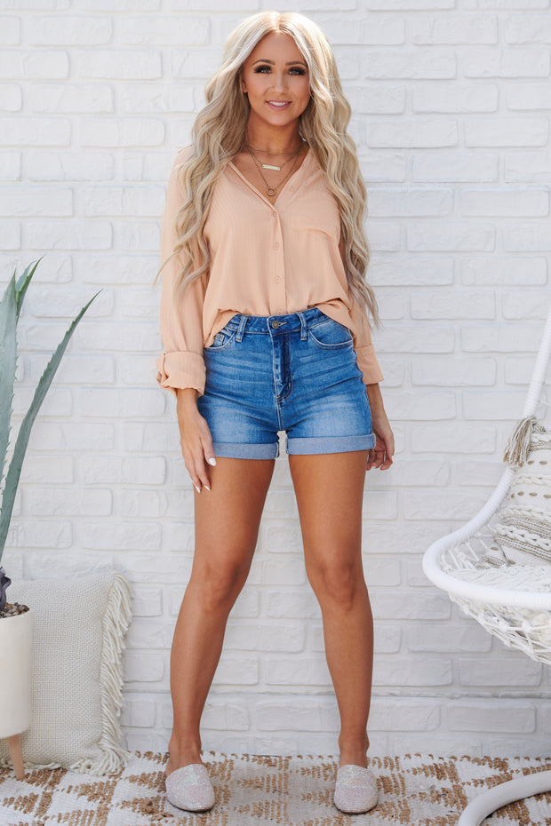 Marla Button Up Top (Rose Beige)
