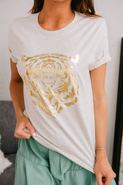 """Eye Of The Tiger"" Gold Foil Graphic T-Shirt (Oatmeal) - NanaMacs"