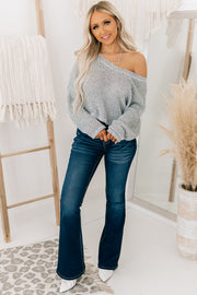 Chances Are High Cropped Knit Sweater (Heather Grey) - NanaMacs