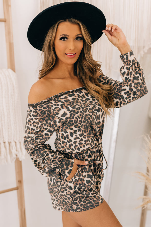 Be Your Baby Off Shoulder Leopard Print Romper (Cream/Brown Leo) - NanaMacs