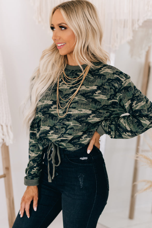 Hidden Forest Camo Print Long Sleeve Top (Olive) - NanaMacs