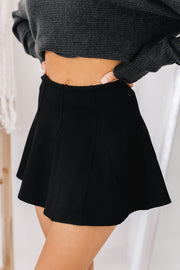 Couldn't Care Less Flare Mini Skort (Black) - NanaMacs
