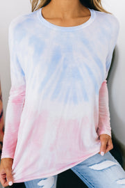 Heading To Class Tie Dye Long Sleeve Top (Light Blue/Pink) - NanaMacs