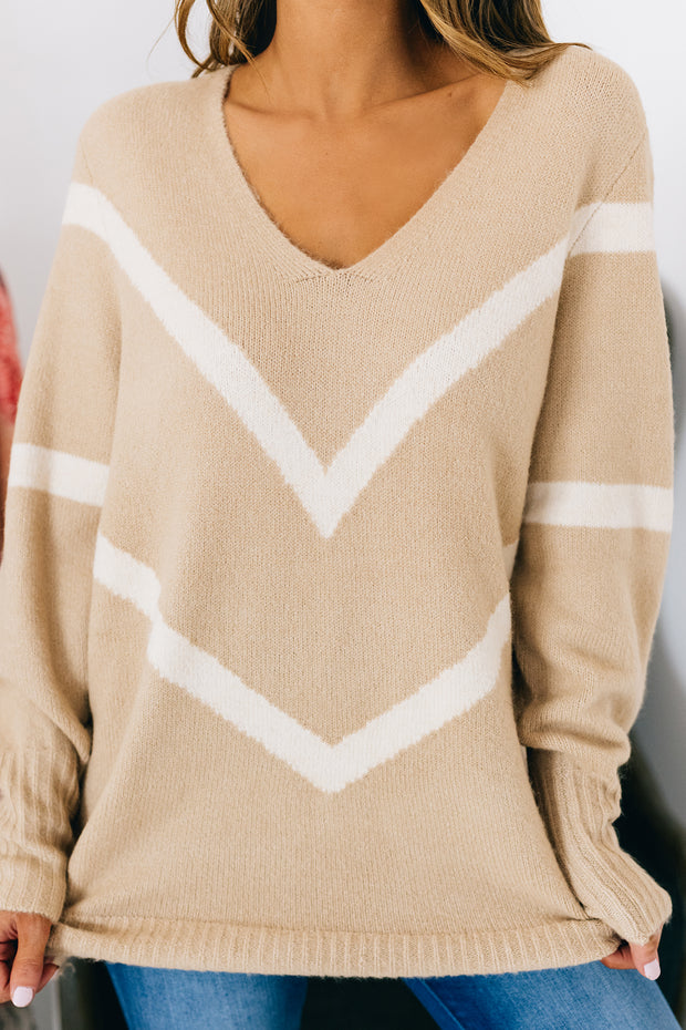 Make Your Point V-Neck Sweater (Taupe/Cream) - NanaMacs