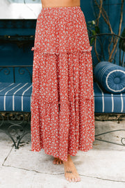 Into My Heart Floral Tiered Maxi Skirt (Red/Cream) - NanaMacs